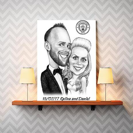 Bride and Groom Caricature on Canvas - example
