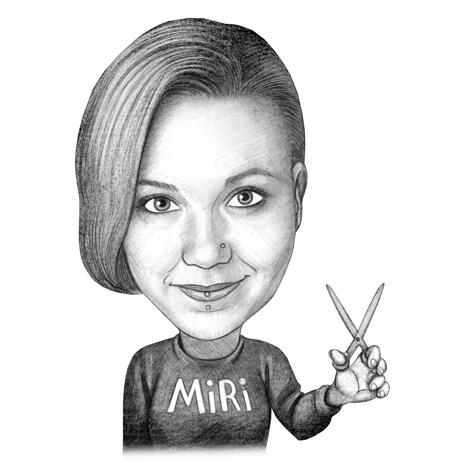 Hair Dresser Caricature from Photos: Black and White Style - example