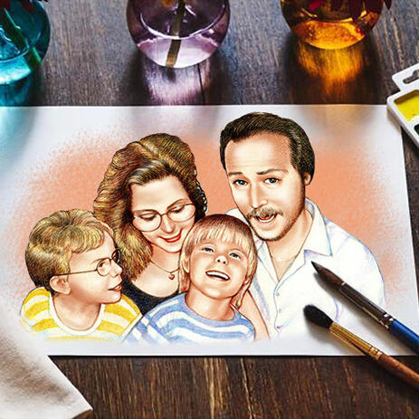 Parents with Children Cartoon Drawing in Colored Style as Print on poster - example