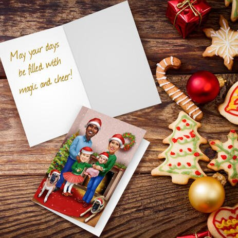 Family with Pets in Santa Hats Caricature Drawing for Custom Christmas Gift - Set of 10 Cards - example