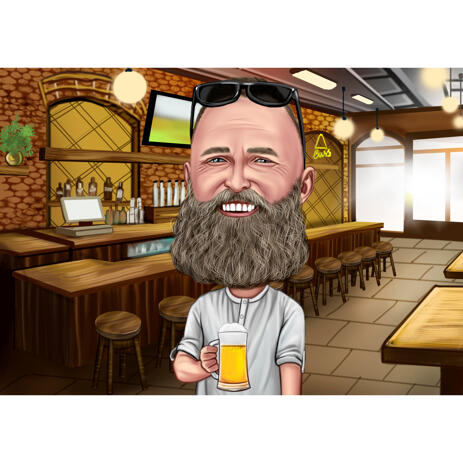 Person Holding Beer Cartoon Caricature in Colored Style with Pub Background from Photo - example
