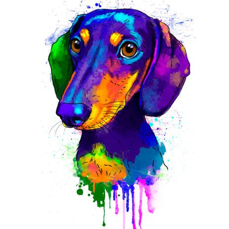 Rainbow Dachshund Portrait Hand Drawn from Photos in Watercolor Style - example