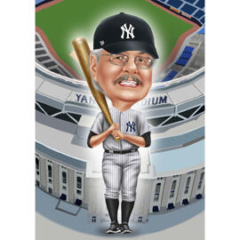 Baseball Caricature with Stadium Background
