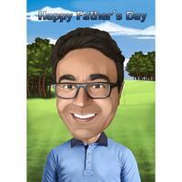 Head and Shoulders Fathers Day Karikatyr i färgstil med anpassad bakgrund