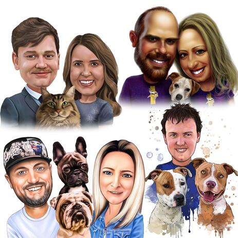 Custom Pet and Owner Portrait Caricature from Photos in Colored Style - example