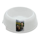 Man with Pet Caricature on Pet Bowl