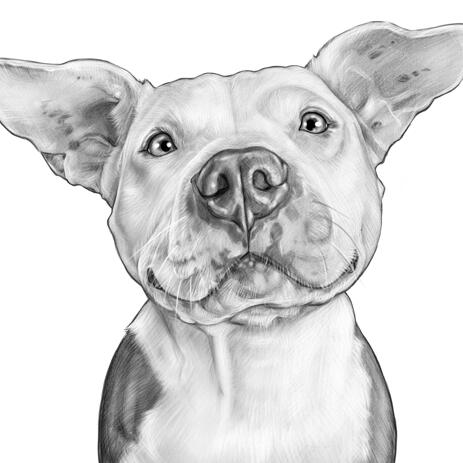 Dog Caricature Portrait in Black and White Style from Photos - example