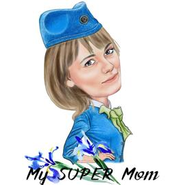 Caricature Drawing of Mom in Any Professional Costume with Flowers and Text