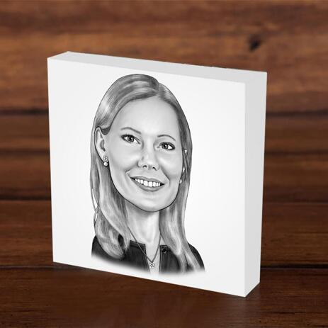 Photo block with Business Caricature - example