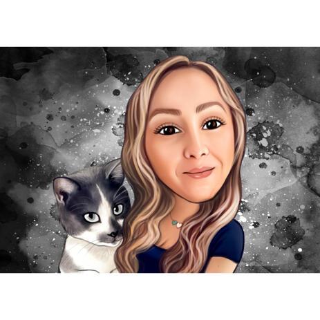 Person og kat tegneserie karikatur i farve stil med grå baggrund - example