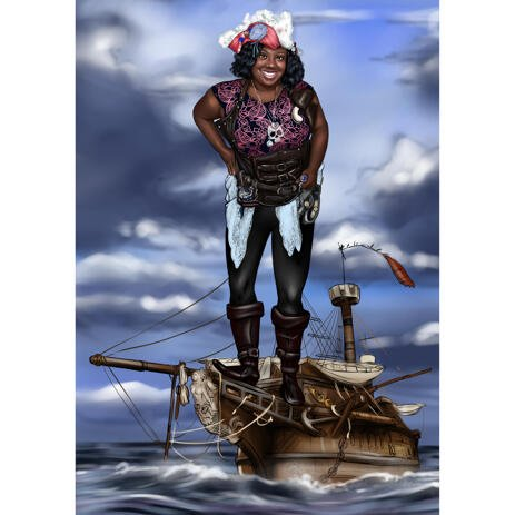 Custom Pirate Caricature with Ship Background from Photos - example