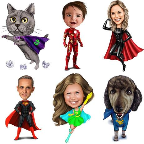 Superhero Caricature Drawing with Any Logo on Chest - example