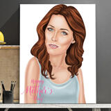 Print on Canvas: Digital Cartoon Drawing from Photo in Mother's Day Theme