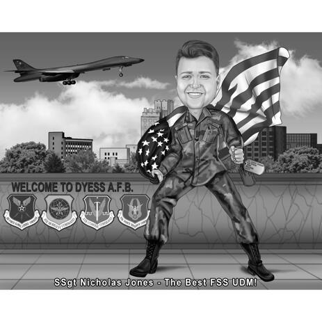 Caricature militaire à partir de photos dans un style noir et blanc avec fond personnalisé - example