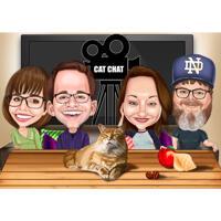 Famiglia con caricatura di animali domestici in stile esagerato nella notte del ringraziamento