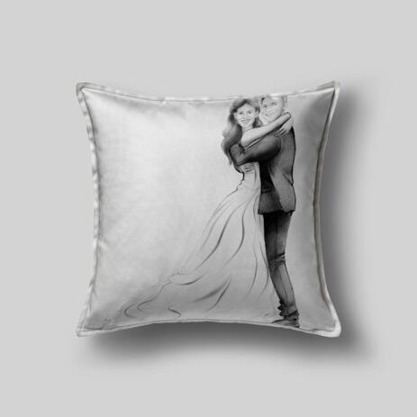 Wedding Caricature on Pillow - example