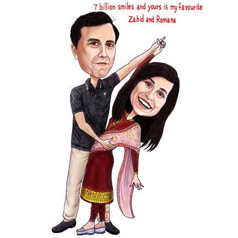 Handmålat par Indisk Bollywood årsdaggåva Helkroppskarikatyr - example
