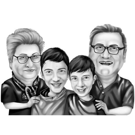 Grandparents with Grandkids Cartoon Portrait from Photos in Black and White Digital Style - example