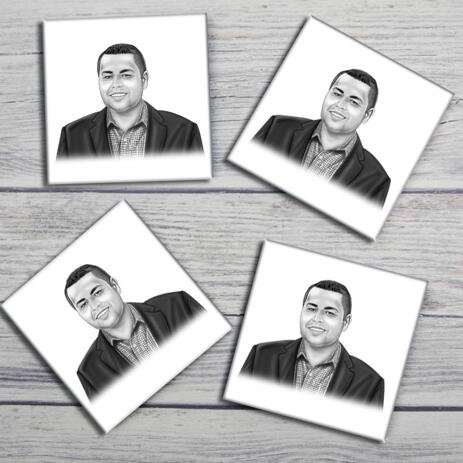 Corporate Portrait on Photo coasters - example