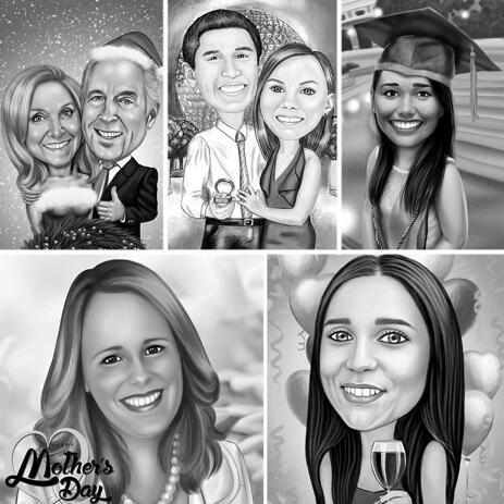 Any Holiday Caricature in Black and White Style with Background - example
