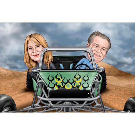 Couple in Custom Vehicle Caricature in Colored Style with Desert Background - example