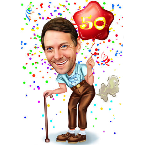 Funny Caricature for 50 Birthday Anniversary Gift - example
