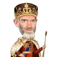 Personkarikatyr som kunglig kung med kronhand som dras från foton