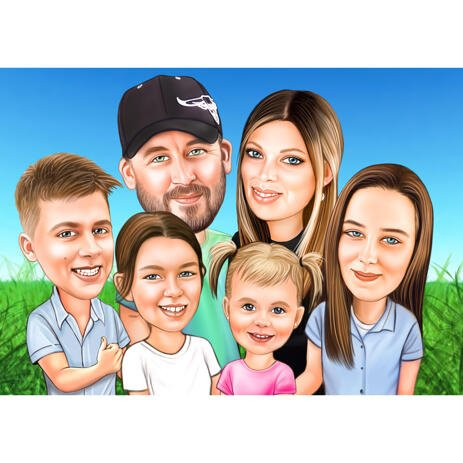 Six People Group Cartoon Drawing in Colored Style from Photos with Custom Background - example