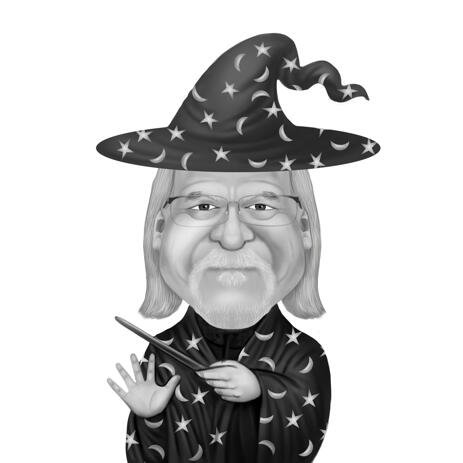 Black and White Magician Person Cartoon Caricature from Photo - example