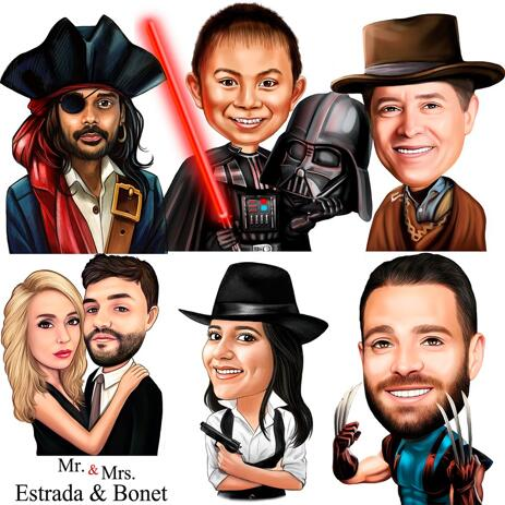 Any Movies Character Caricature from Photos in Colored Style - example