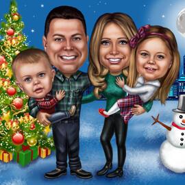 写真からの全身クリスマスグループ似顔絵カード