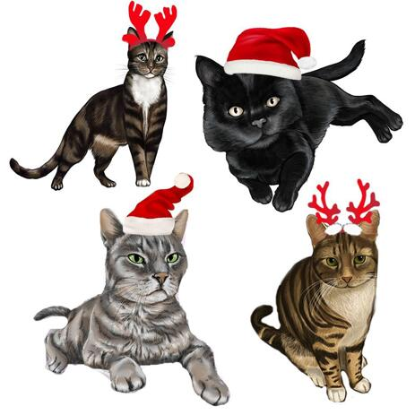 Full Body Christmas Cats Caricature Portrait in Color Style - example