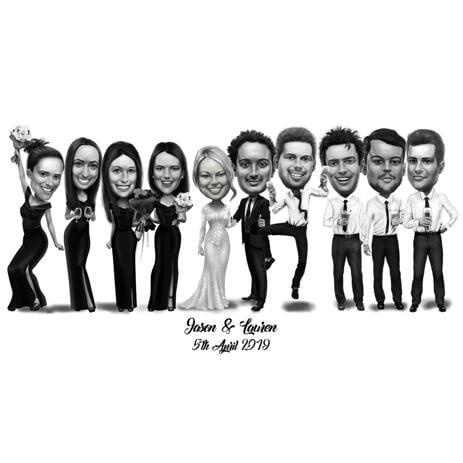 Wedding Caricature of Bride Groom Bridesmaids and Groomsmen - example