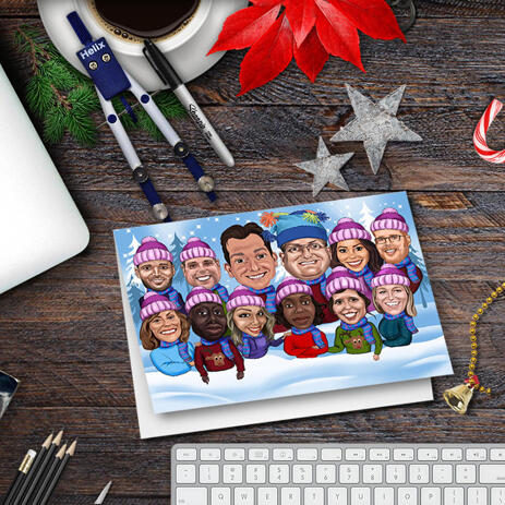 Winter Themed Corporate Group Caricature with Snow Background - Set of 10 Holiday Cards - example