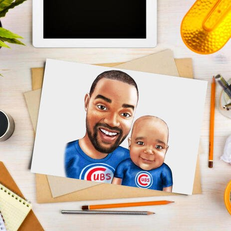 Father with Child Custom Caricature Drawing on White Background as Poster Print - example