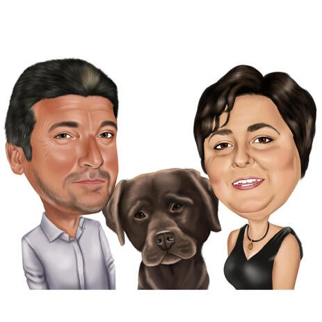 Gentlman and Lady with Pet Caricature in Colored Digital Style from Photos - example