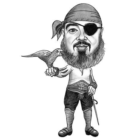 Retrato de caricatura pirata en blanco y negro, estilo de cuerpo completo - example