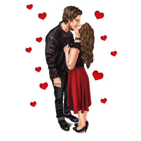 Full Body Couple Kissing Cartoon Portrait in Colored Style from Photos - example