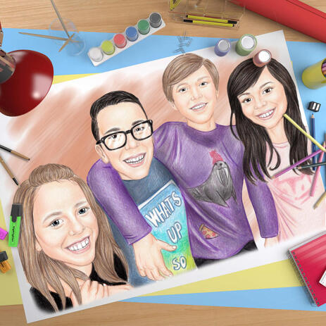 Kids Group Cartoon Portrait with One Color Background on Poster - example