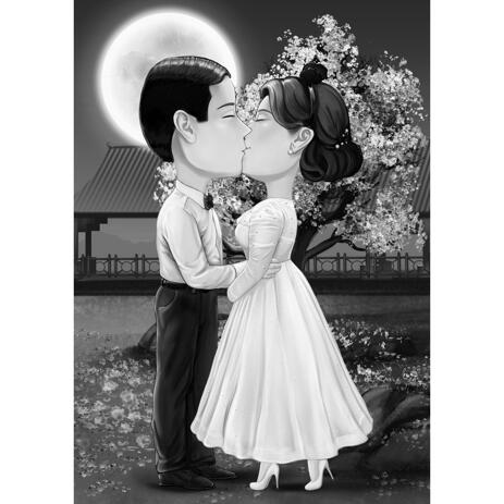 Black and White Kissing Couple Caricature with Custom Background from Photos - example