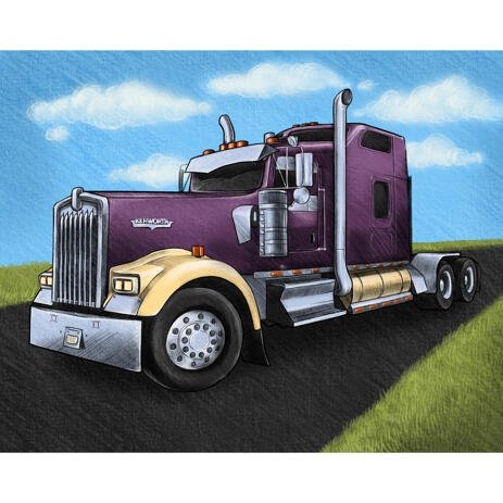Truck Portrait Drawing from Photos with Road Background - example