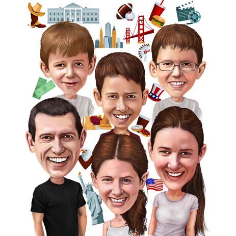 Карикатура семьи с изображением хобби каждого члена семьи - example