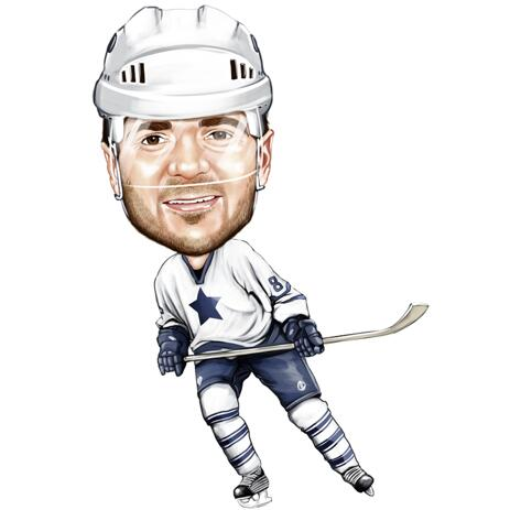 Hockey Portrait from Photos: Full Body Hockey Player Caricature - example