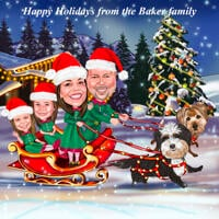 Christmas Family Caricature Card - Santa's Sleigh with Pets