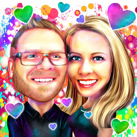 Romantic Couple Portrait in Watercolor Digital Style for Valentines Card - example