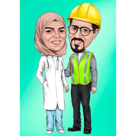 Couple Caricature of Construction Worker and Doctor from Photos with One Color Background - example
