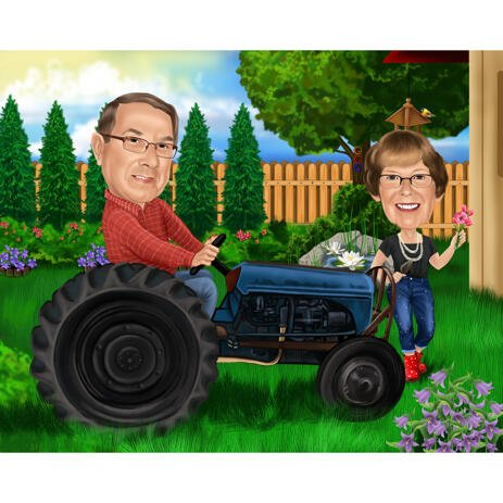 Custom Farmers Garden Couple on a Tractor Cartoon Drawing from Photos in Color Style - example