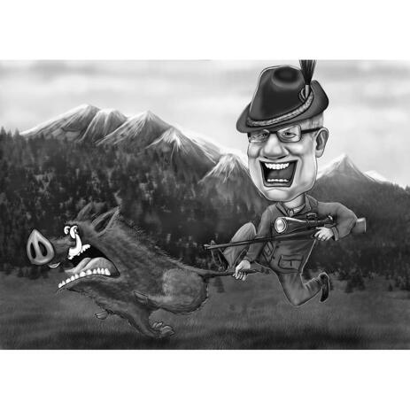 Exaggerated Black and White Hunting Caricature from Photos - example