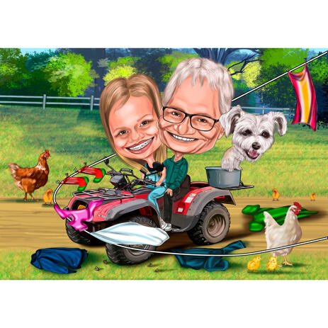 Grandpa and Child with Pets on Quad Bike Caricature in Funny Exaggerated Colored Style - example