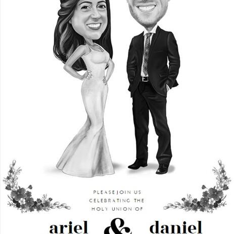 Wedding Portrait Printed on Invitations - example